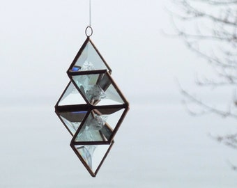 3D Clear Frosty Glass Star Suncatcher Winter Inspired Ornament with Copper Lines - Medium