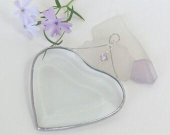 June Birtrhday Suncatcher Light Amethyst Purple Crytsal Accented Beveled Glass Heart Ornament Handmade in Canada Birthday Gift Idea