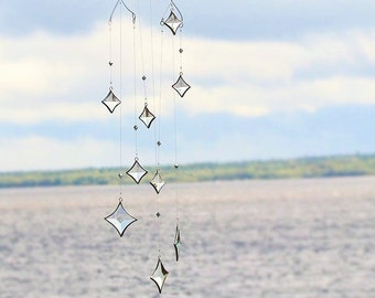 All Stars Hanging Mobile Clear Glass Crystal and Silver Colors