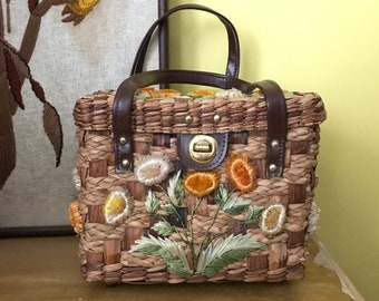Vintage Straw Weave Flower Handbag Leather Boho Summer handmade wicker