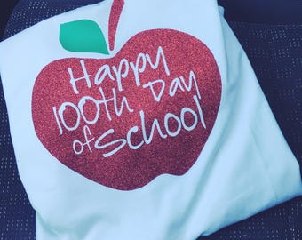 Sew Vicious 100th Day of School Apple Tee Shirt Teacher Ladies