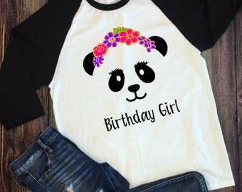 Panda Flower Crown Birthday Party Custom Shirt