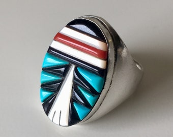 Vintage Native American Zuni Ring Sterling Silver Turquoise Coral Jet Mother of Pearl Signed Size 11.5