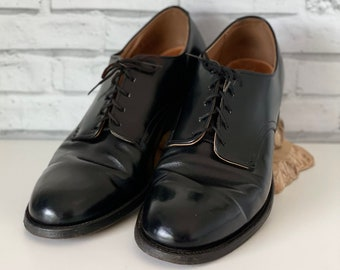 Vintage J. F. McElwain Co. Black Leather Oxford Shoes Military Issue Size 10 1973