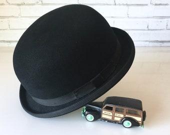 Vintage Mens Black Wool Bowler Hat a43f06ee4461