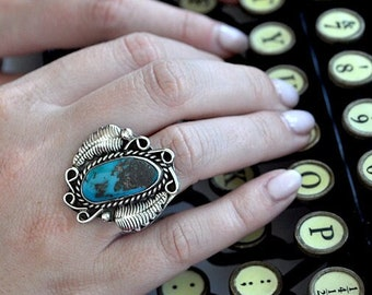 Sterling Silver Turquoise Ring Native American Navajo