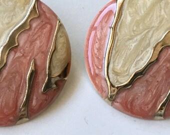 Vintage 80s Enamel Statement Earrings Pierced