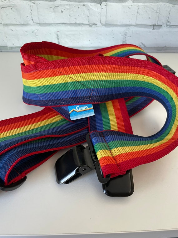 Vintage 80s Rainbow Suspenders Camas