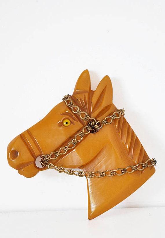 Vintage 40s Bakelite Horse Brooch