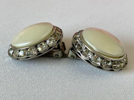 Vintage 50s Coro Earrings Clip On Faux Pearl and … - image 4