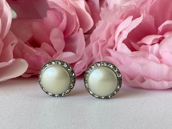 Vintage 50s Coro Earrings Clip On Faux Pearl and … - image 1