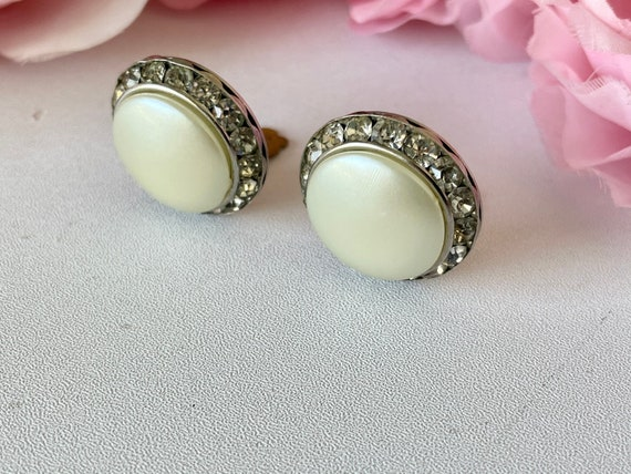 Vintage 50s Coro Earrings Clip On Faux Pearl and … - image 6