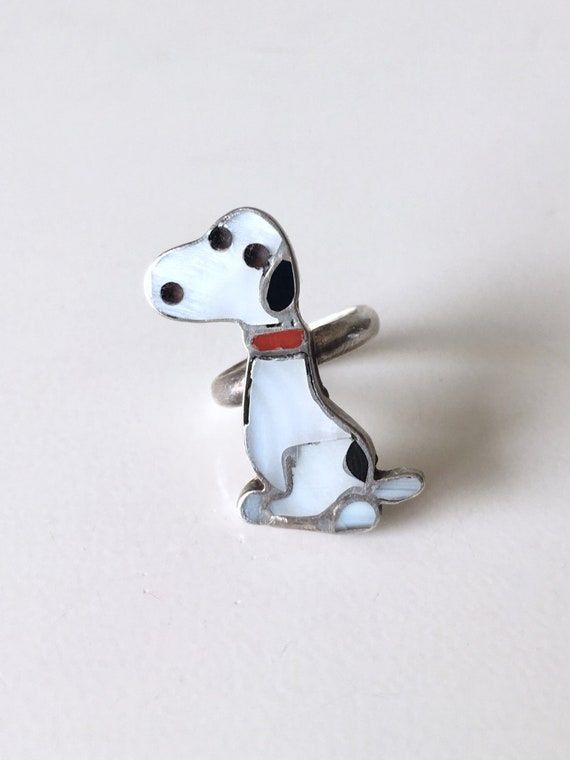 Rare Zuni Snoopy Pinky Ring Zunitoons Size 3.5