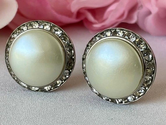 Vintage 50s Coro Earrings Clip On Faux Pearl and … - image 2