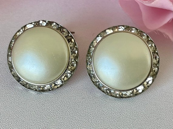 Vintage 50s Coro Earrings Clip On Faux Pearl and … - image 7