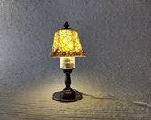 1 12 Dollhouse miniature faux stained glass table lamp Working LED lamp for use in wired dollhosue via 12-volt DC transformer