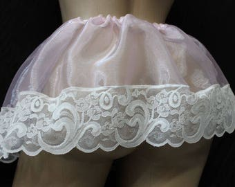 "Adult sissy -Cross Dresser-Sheer Organza PINK Satin SLIP SKIRT w/ Lace 10"" Long- Custom Made"