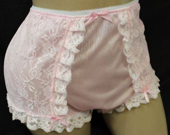 Vintage Style Adult Sissy Tricot & Lace  Full Cover Granny Panties - Cross dresser - fetish - ABDL