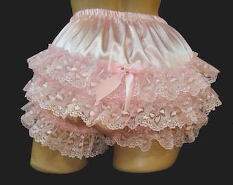 "Adult Sissy Custom Made""Handmade Sissy Ruffle Panties Fetish Cosplay Lace Rumba - Color Option"