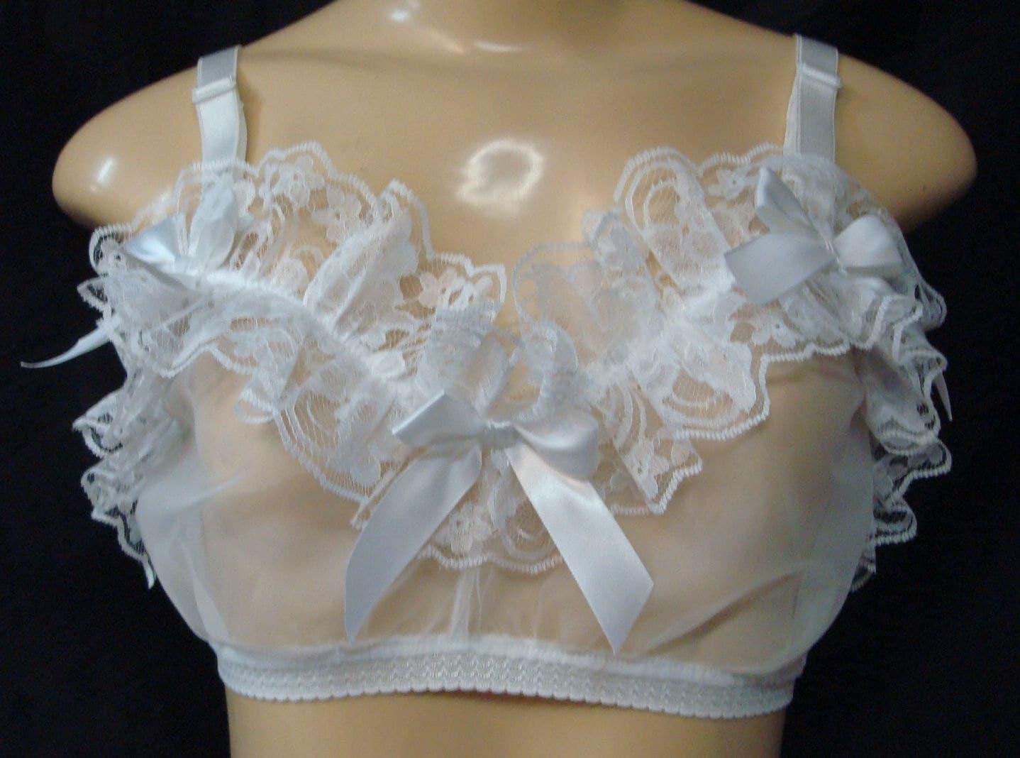 5170a34414 Adult Sissy White Sheer Chiffon Pantie and training Bra Set cross dresser  cosplay