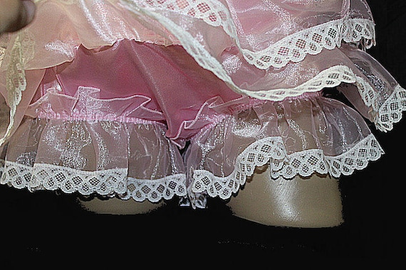 "Adult Sissy PINK Organza Rumba Ruffles PANTIES  /""color choice Custom Made/"""