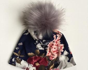 c3741b75b2f8f Navy floral print pom pom hat