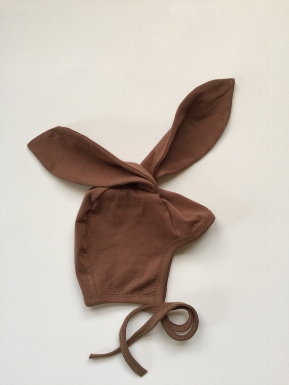 4b0f0c821fe Baby pilot hat with bunny ears solid mocha knit hat hearing