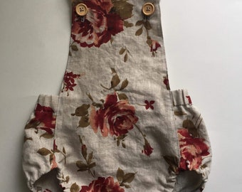 Pink rose floral linen baby overall, short romper, sunsuit, romper, one piece romper, toddler romper, baby play suit, baby girl outfit