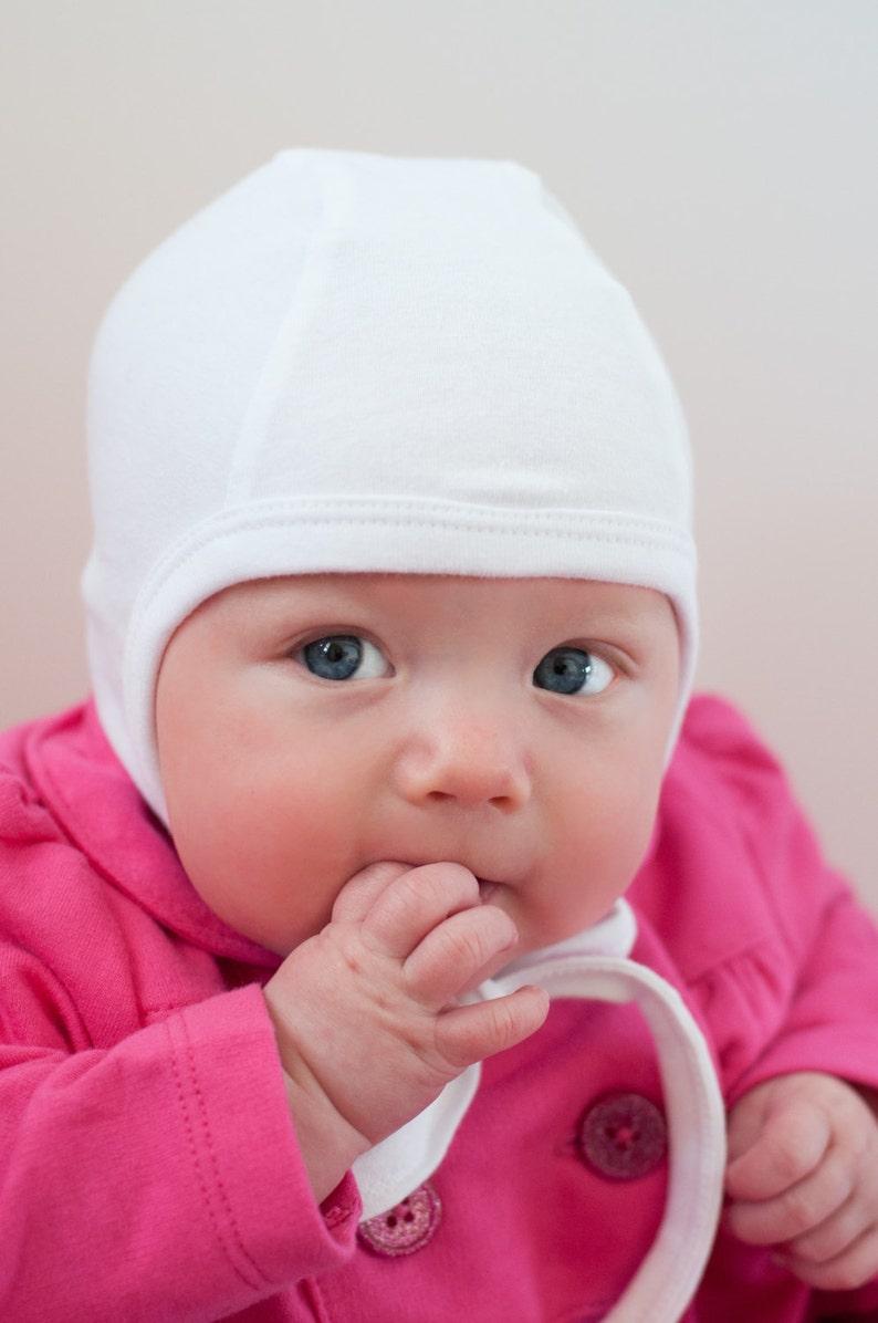 Baby Pilot cap Solid white knit hat hearing aid capHaloween  901b1b45c4d