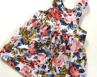 Blue floral print linen pinafore dress, baby girl dress, toddler girl dress, sleeveless dress, play dress, girl outfit, baby girl outfit