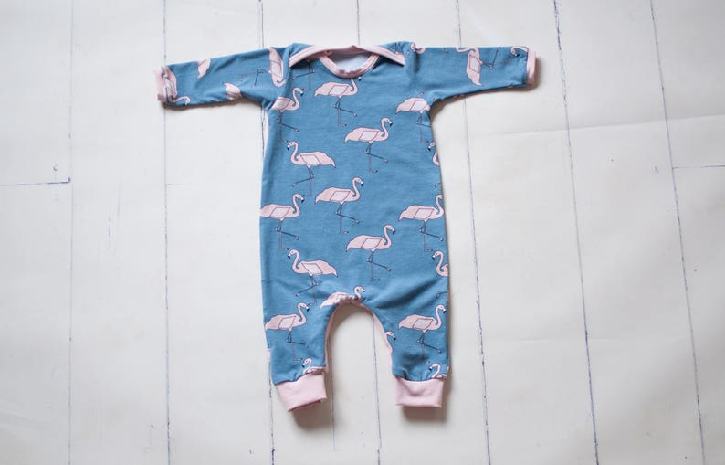 65a418609f3 Dusty pink and blue flamingo print romper harem romper for