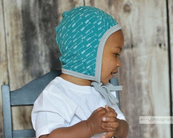 Baby pilot hat, baby girl hat, baby boy hat, hearing aid hat, Emmifaye hat, hat with ties, toddler hat, spring hat, baby gift, arrow hat