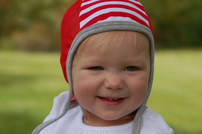 7e3dcb7306d Baby pilot hat hearing aid hat with mesh baby cap red baby