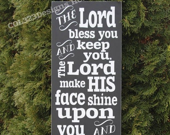 Aaronic Blessing May the Lord Bless You and Keep You Distressed Hand Painted Wooden Sign Numbers 6:24-26