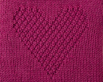 Hot water bottle Cover Knitted in Pink Heart Textured pattern