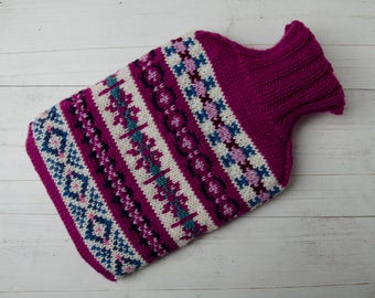 Knitted hot water bottle cover in fairisle pink, pure merino wool