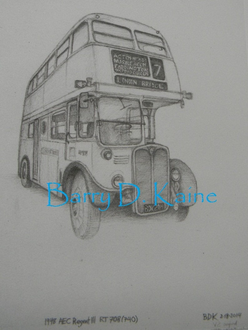 Double decker bus pencil drawing 2749 print