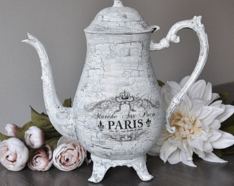 White, shabby chic, crackle painted, silver plated antique teapot, Paris Flea market French script, French decor