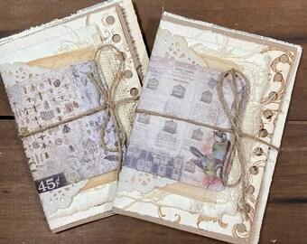 2 Mini Junk journals, Handmade journal, Miniature book