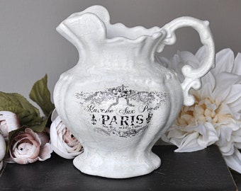 White, shabby chic, crackle painted, Paris, ceramic pitcher, French decor