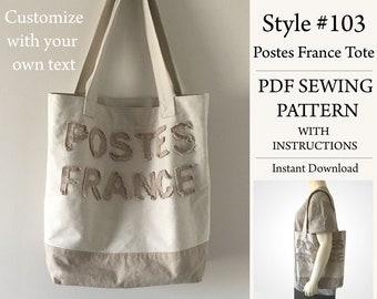Postes France Tote, Customize Text, PDF Pattern, Sewing Pattern, Instant Download Pattern, Style#103