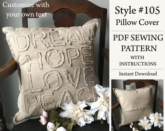 18x18 Pillow Cover, PDF Pattern, Sewing Pattern, Instant Download Pattern, Custom Pillow, Style# 105