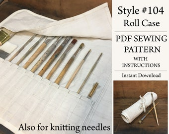 Roll Case, PDF Pattern, Sewing Pattern, Instant Download Pattern, Paint brush case, Knitting case, Style# 104