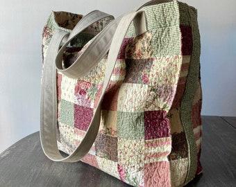 Floral tote bag, Quilted bag, Tote bag