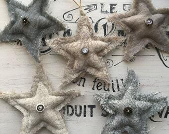5 Wool stars, Star ornaments, Stars, Wool