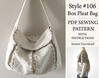 Box Pleat Bag, PDF Pattern, Sewing Pattern, Instant Download Pattern, Style #106