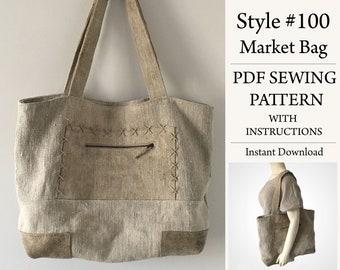 Market Bag, PDF Pattern, Sewing Pattern, Instant Download Pattern, Style #100
