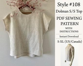 Dolman S/S Top, PDF Pattern, Sewing Pattern, Instant Download Pattern, Style#108