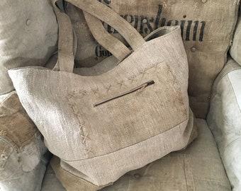 Linen bag, Vintage linen, Handmade bag