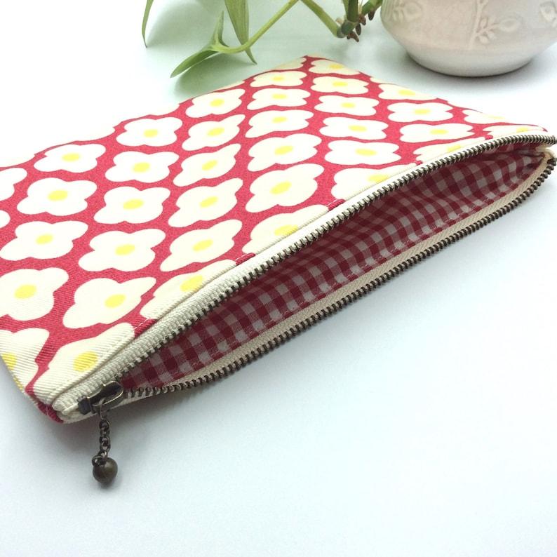 Flower print cotton zipper pouch Red